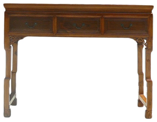 Chinese Light Brown Three Drawers Altar Table Desk - Asian - Desks And Hutches - by Golden Lotus ...