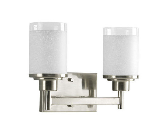 Progress Lighting - Progress Lighting P2977-09 Alexa Two-Light Bathroom Fixture with Linen and Clear - Progress Lighting P2977 Alexa Bathroom Light