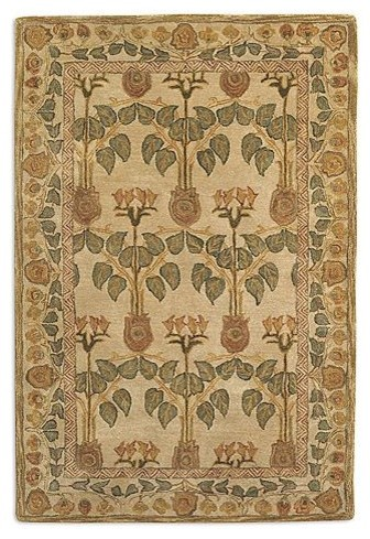 Anatolia Blaize Wool Area Rug in Off-White/Soft Yellow traditional-rugs