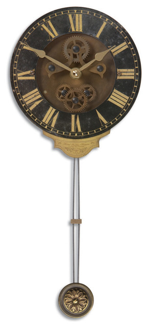 Antiqued Metal Pendulum Wall Clock With Gears 6 In