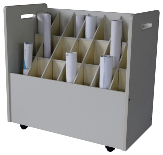 Mobile Wood Roll File 21 Compartments - Filing Cabinets - by Modern Furniture Warehouse