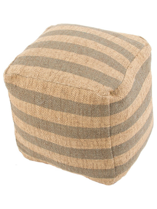 Jaipur Rugs - Mason Pouf, Beige & Gray - The mason collection is a collection of natural fiber poufs, consisting of nautical inspired stripes, these poufs complete a rustic or coastal inspired retreat home.