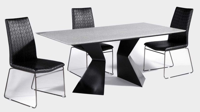 Elegant Rectangular Leather Dinner Table And Chairs