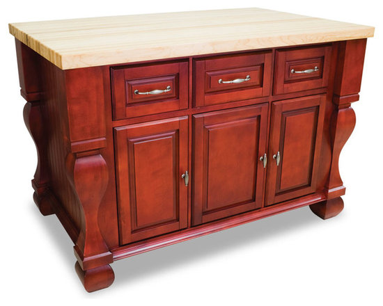 """Inviting Home - Sonoma Kitchen Island (dark red) - Sonoma kitchen island in dark red finish; 53-1/2""""W x 33-3/4""""D x 35-1/2""""H; (1-3/4"""" hard maple butcher block top 01 sold separately); Kitchen island features soft-close under-mount slides on drawers soft-close European hinges and fully adjustable shelves. 1-3/4"""" hard maple butcher block top 01 sold separately."""