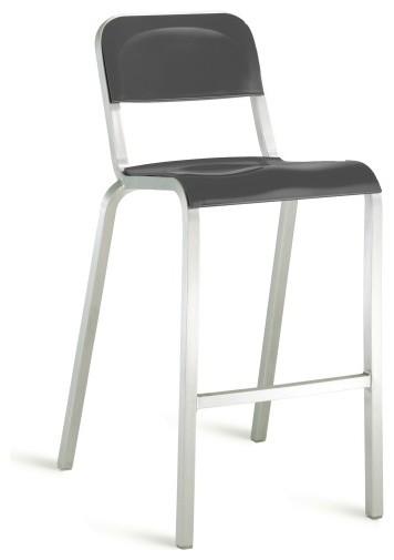 1951 Bar Stool, Black On Brushed Aluminum modern-bar-stools-and-counter-stools