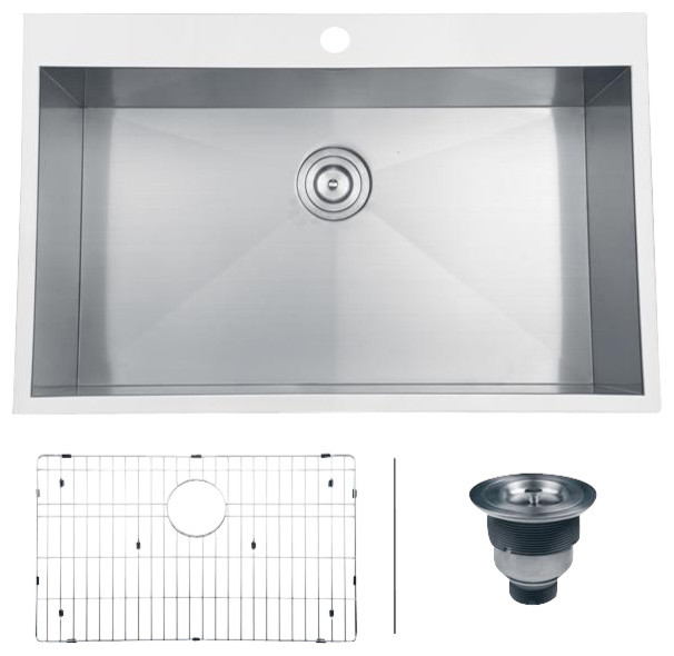 Ruvati rvh8000 overmount kitchen sink contemporary - Overmount sink kitchen ...