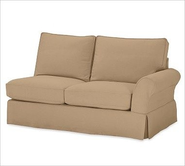 PB Comfort Roll-Arm Slipcovered Right Love Seat, Polyester Wrap Cushions, Brushe traditional-chairs