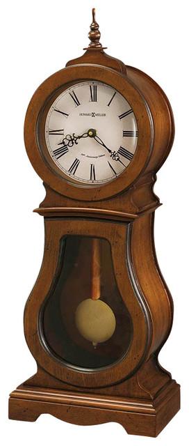 Howard Miller Cleo 84th Anniversary Edition Mantel Clock in Chestnut transitional-desk-and-mantel-clocks