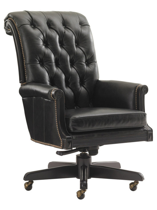 Breckenridge Cascade Desk Chair in Rich Black Leather - Front - Photo by Sligh by Lexington Furniture, chair available @ http://www.dynamichomedecor.com/Sligh-147WB-938-01.html