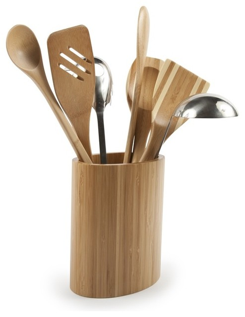 Core bamboo oval utensil holder traditional utensil for Kitchen utensil holder