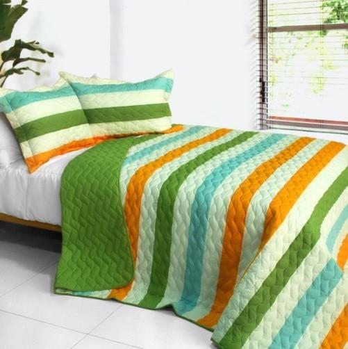 [Green Rose] 3PC Patchwork Quilt Set (Full/Queen Size) modern-bedding