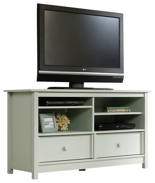Sauder Original Cottage TV Stand in Rainwater transitional-entertainment-centers-and-tv-stands