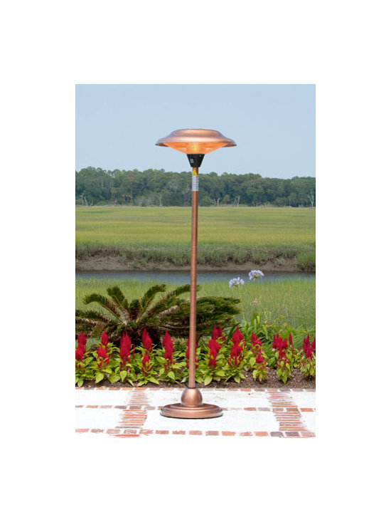 Fire Sense Copper Finish Floor Standing Round Halogen Patio Heater - The  copper accents on the Fire Sense Copper Finish Floor Standing Round Halogen Patio Heater will easily complement modern or classic outdoor home decor. -Mantels Direct