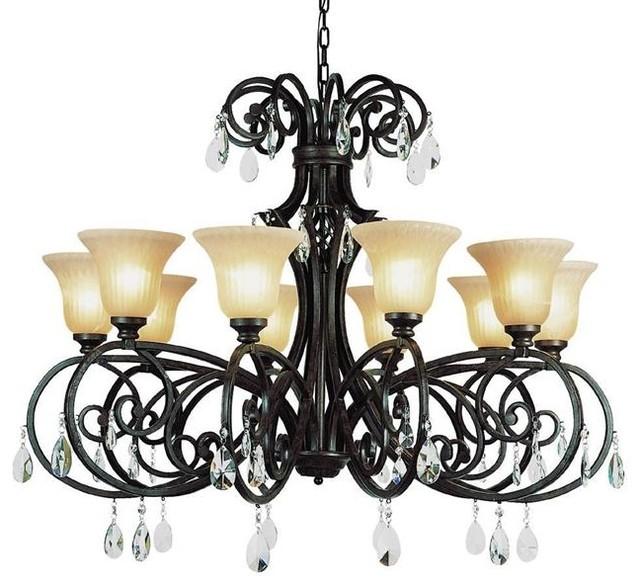Vintage Scroll 12 Light Crystal Chandelier modern-chandeliers