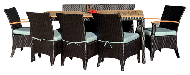 Arbor 9 Piece Modern Patio Dining Set, Spa Cushions modern-patio-furniture-and-outdoor-furniture