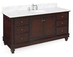 Bella 60-in Single Sink Bath Vanity (White/Chocolate) traditional-bathroom-vanities-and-sink-consoles