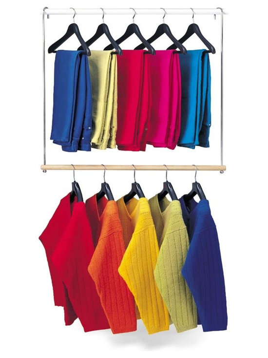 Lynk - Double Hang Closet Rod in Chrome and Wood Fin - Hang on any closet rod to double your hanging space. Looks beautiful in any closet. Made from chrome plated steel and solid wood. 30 in. W x 2.1 in. D x 34 in. H (2 lbs.). Assembly InstructionLynk products offer great storage solutions for the kitchen, pantry, closet, laundry, bath and garage.