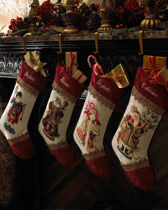 Rooster Santa Stocking, Plain traditional holiday decorations
