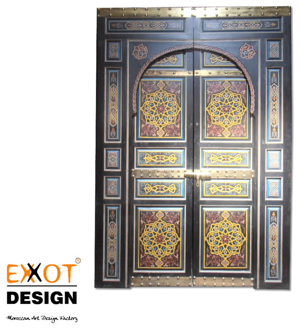 Moroccan handmade wooden metal and hand painting door for Mediterranean interior doors