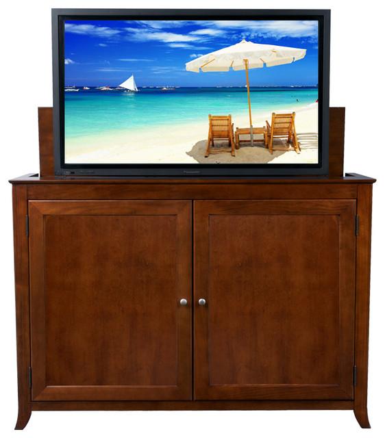 Berkeley mocha cherry tv lift cabinet for flat screen up for Tv lift consoles for flat screens