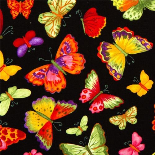 Black designer fabric with colourful butterflies fabric by modes