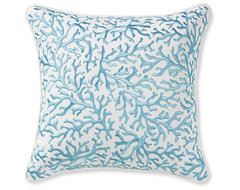 Coral Embroidered Pillow tropical pillows