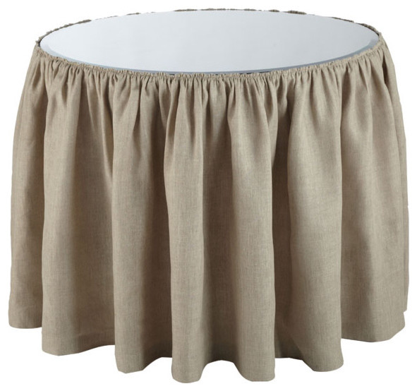 Gathered Linen Skirt - Medium traditional-tablecloths