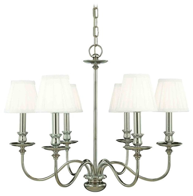 Hudson Valley 4036-PN Menlo Park Polished Nickel 6 Light Chandelier contemporary-chandeliers