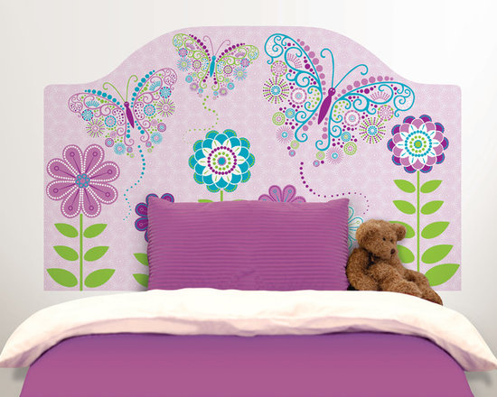 Headboards - Adding a headboard to the bed creates a finished and fashionable look in the room. Your little one will absolutely love this whimsical headboard decal of butterflies flying between pretty florals.
