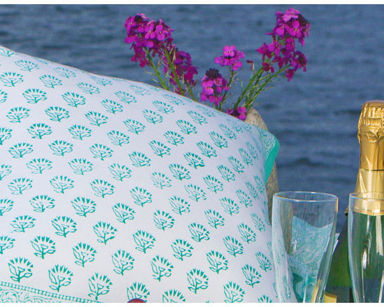 Attiser - Ocean themed decor - Seaside Savvy cushion cover, a pretty aqua and teal pattern that is perfect for an outdoor bench or luxurious window seat with a view of the water's edge. Hand Block Printed from Attiser