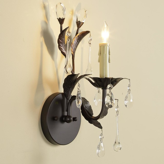Wall Sconces Crystal : Crystal Drop Sconce - 1 Light - Wall Sconces - by Shades of Light