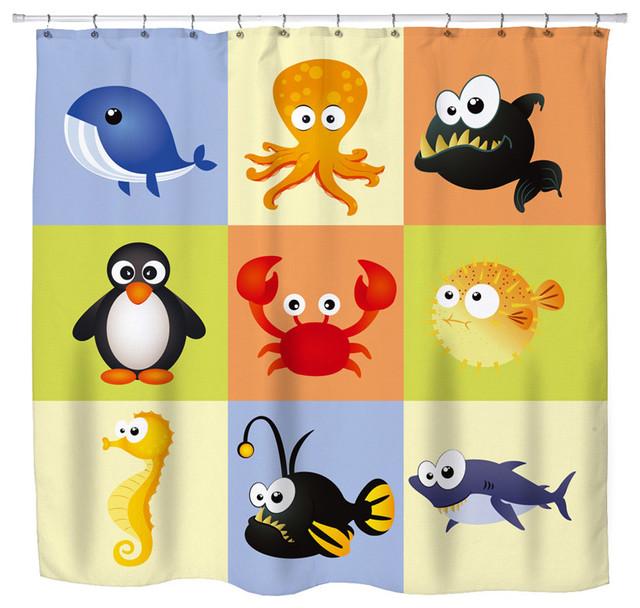 "Eco Friendly  ""Beach Animals"" Kids Beach Shower Curtain eclectic-shower-curtains"