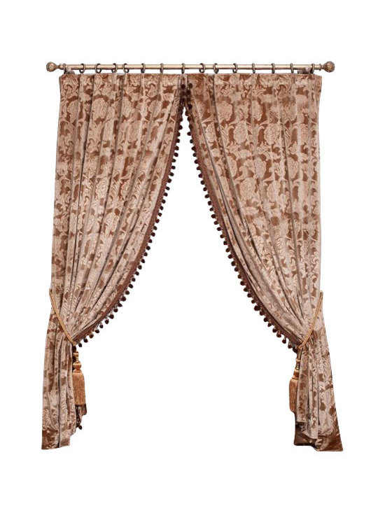 """Ulinkly.com - Embroidered Velvet King  (1 Panel Drapery with Lining, each panel 54""""W 96""""L) - Ulinkly is for affordable custom-made luxurious window curtains. We partner exclusively with top premium factories(top 1-2 sellers in international market) selling high-end custom-made curtains with top quality and hundreds high-end styles (Drapery, Voile and Valance) selection in North America."""
