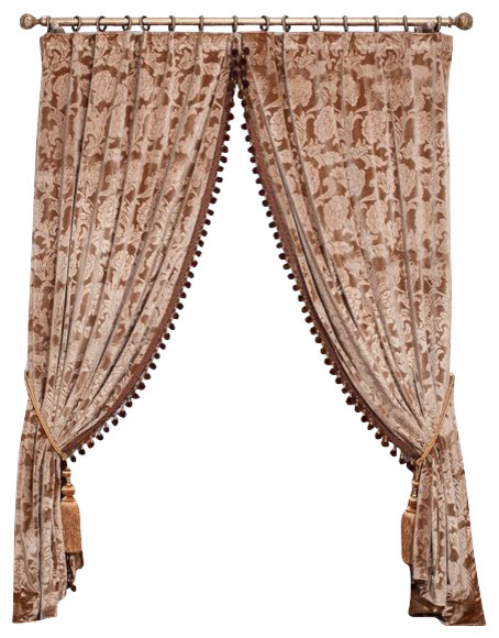 """Embroidered Velvet King  (1 Panel Drapery with Lining, each panel 54""""W 96""""L) modern-curtains"""