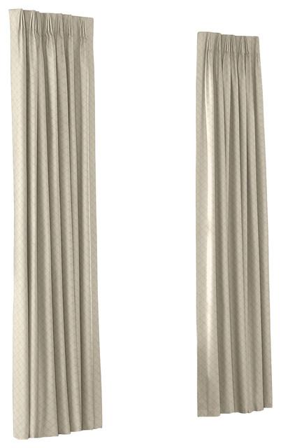 Warm Gray Pintuck Custom Euro Pleat Drape Single Panel contemporary-curtains