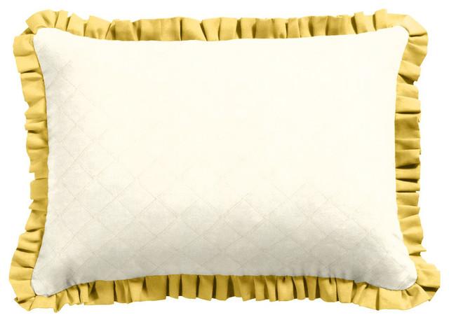 Yellow Ruffle Decorative Pillow : Yellow Ruffle Throw Pillow - Boudoir - Decorative Pillows - new york - by Loom Decor