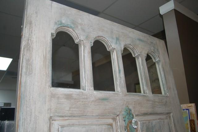 Aged and Distressed Solid Wood Door traditional screens and wall dividers