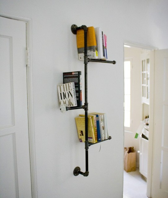 Industrial Pipe Bookshelf with Antique Knob by Dirty Bils eclectic-wall-shelves