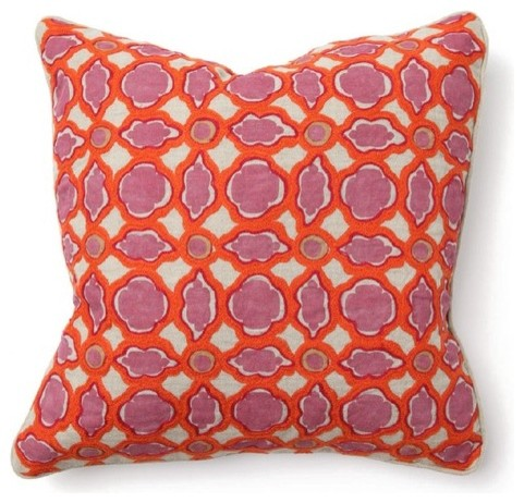 Bohemian Chic Balance Pillow in Pink and Orange modern-decorative-pillows