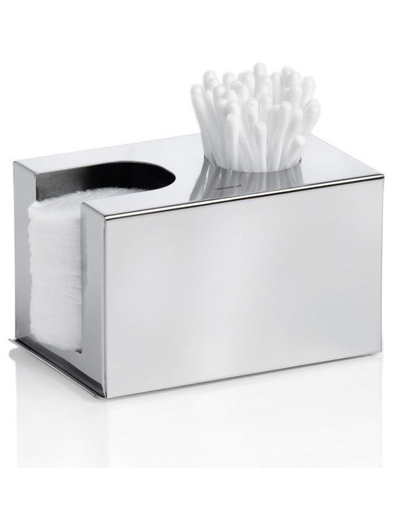 Blomus - Nexio Dispenser for Cotton Buds - Polished - The Nexio Dispenser for Cotton Buds in stainless steel with polished finish. Offers a sleek place to store cotton q-tips, cotton balls and face pads.