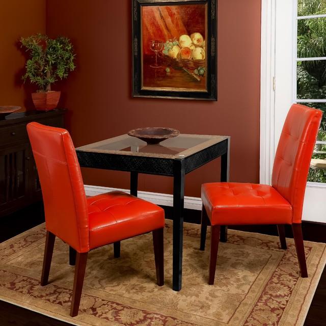 Christopher knight home tufted burnt orange leather dining for Tufted leather dining room chairs
