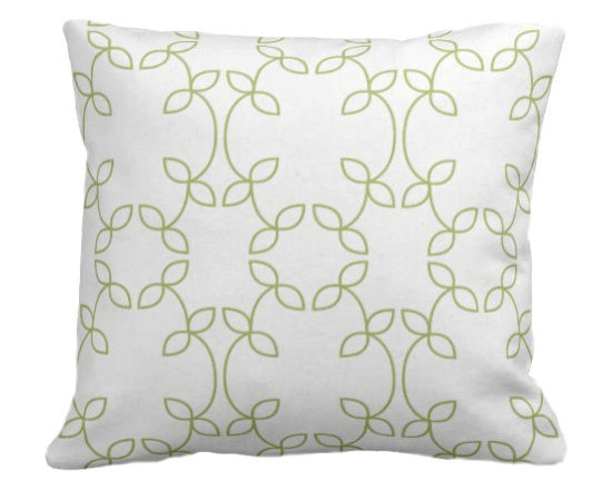 PURE Inspired Design - Vine Organic Pillow Cover, Lime/Natural, 18 X 12 - Collection:  PURE Beach