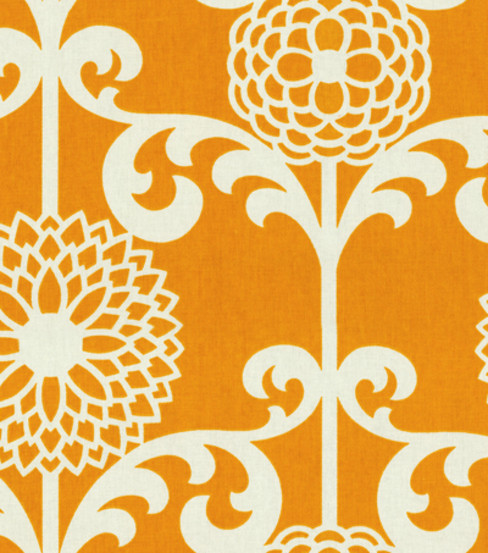 Waverly Modern Essentials Fabric-Fun Floret / Citrus Orange fabric