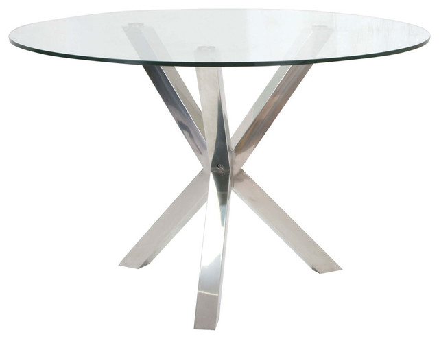 round glass dining table with stainless steel base traditional dining