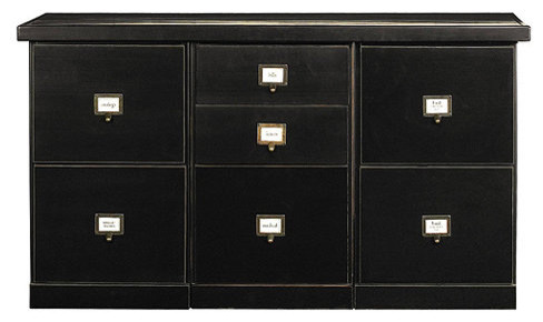 Original Home Office 3-Cabinet Credenza with Wood Top transitional-storage-cabinets