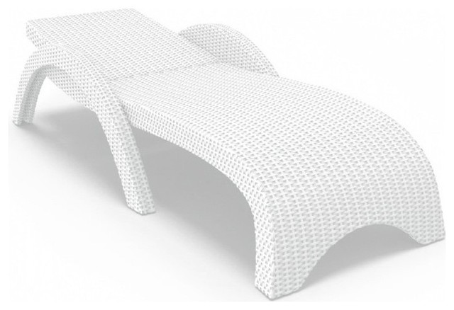 Compamia ISP860-WH Miami Resin Wickerlook Chaise Lounge - White - Set of 2 - ISP contemporary-outdoor-chaise-lounges