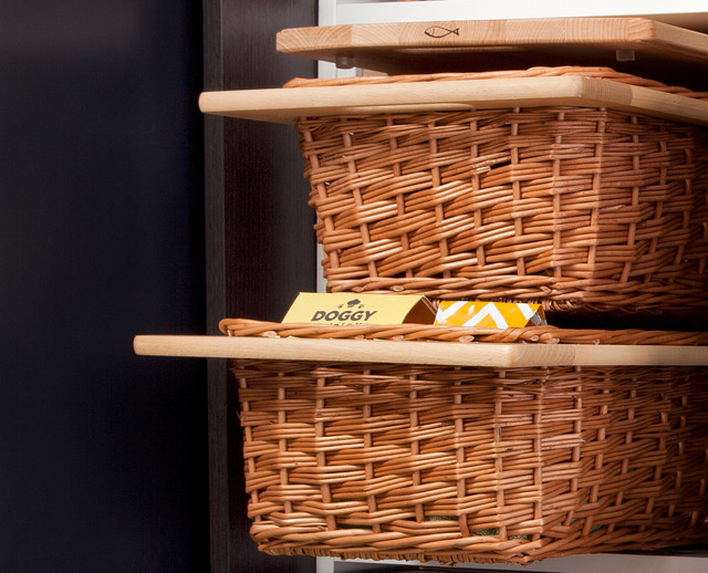 Pull Out Wicker Storage Baskets For Kitchen Cabinet