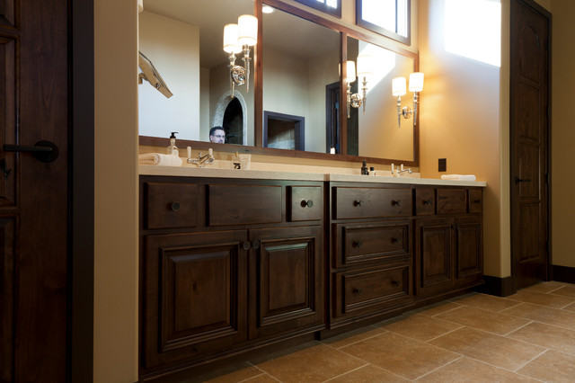 Knotty Alder wood | Charleston w/ AM1 door | Burnt Maple finish w/ MFG traditional-bathroom