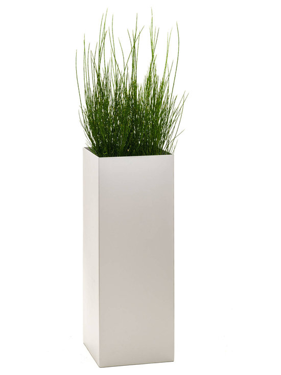 Modern Planter - Modern Tower Planter, Dove, Large - Add height and dimension to any space with our Modern Tower plant containers.  Available with or without drain holes.