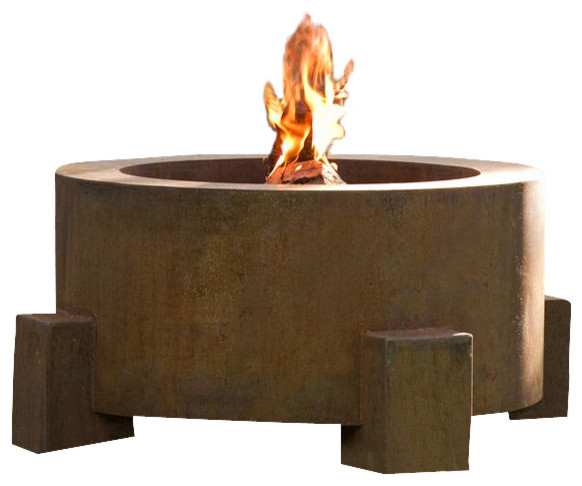 Round Weathering Steel Fire Pit, Round Fire Pit for Logs/Propane Gas contemporary-firepits